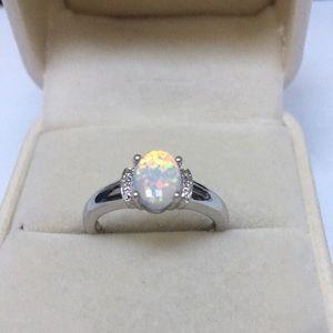 Jewelry - Opal and genuine Diamond Ring